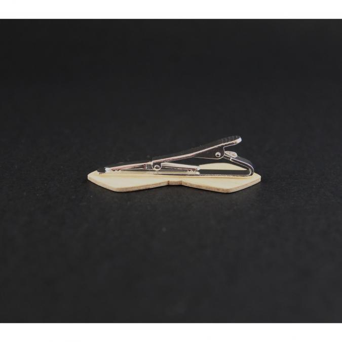 MARQUETERIE-49 - Pince cravate en forme de noeud papillon bois - Cravate - Beige