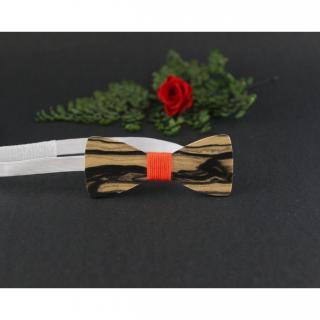 MARQUETERIE-49 - Pour enfant : noeud papillon garçon en bois clair veiné de noir et fil orange - Noeud papillon