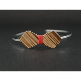 MARQUETERIE-49 - Serre tête noeud papillon en bois rayé et fil rouge - serre tête