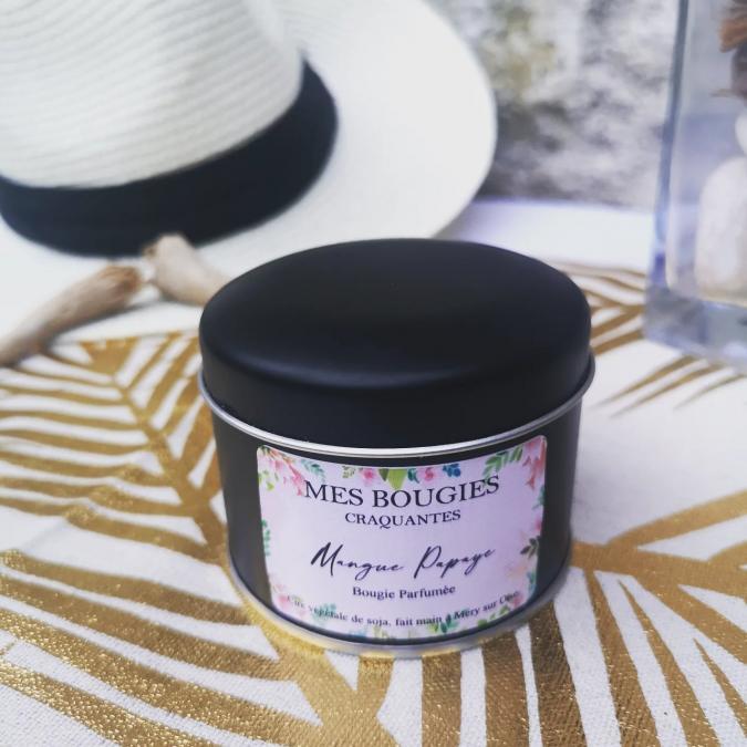 """Mes bougies craquantes - Bougie SUMMER """"Mangue Papaye"""" - Bougie - Noix de coco,  parfum de grasse"""