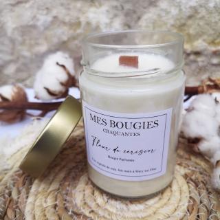 """Mes bougies craquantes - La grande Craquante de 300g """"Fleur de cerisier"""" - Bougie - Fleur de cerisier,  parfum de grasse"""