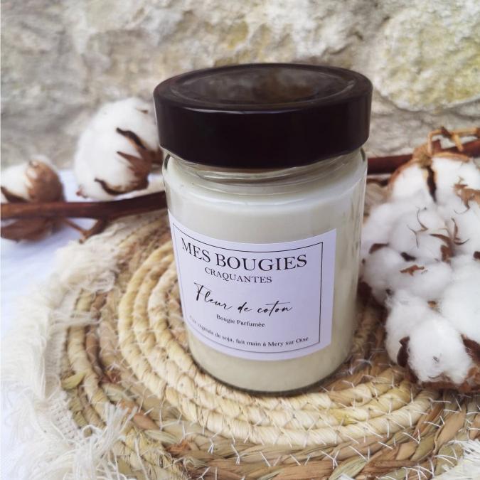 """Mes bougies craquantes - La grande Craquante de 300g """"Fleur de coton"""" - Bougie - Fleur de coton,  parfum de grasse"""