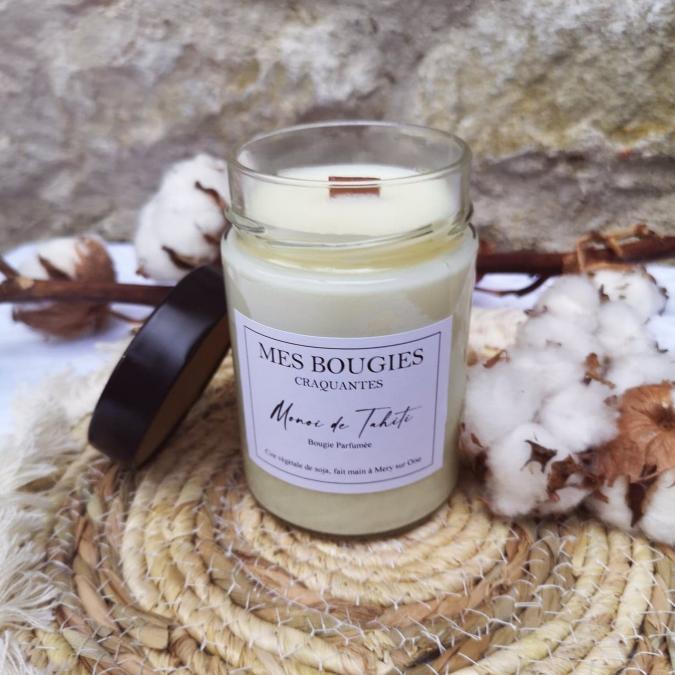 """Mes bougies craquantes - La grande Craquante de 300g """"Monoï de Tahiti"""" - Bougie - Monoï de Tahiti,  parfum de grasse"""
