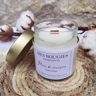 "Mes bougies craquantes - La petite Craquante de 200g ""Fleur de cerisier"" - Bougie - Fleur de cerisier,  parfum de grasse"