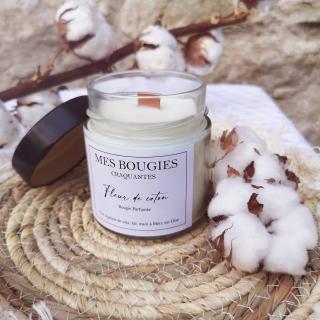 """Mes bougies craquantes - La petite Craquante de 200g """"Fleur de coton"""" - Bougie - Fleur de coton,  parfum de grasse"""