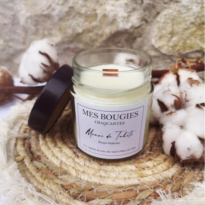 "Mes bougies craquantes - La petite Craquante de 200g ""Monoï de Tahiti"" - Bougie - Monoï de Tahiti,  parfum de grasse"