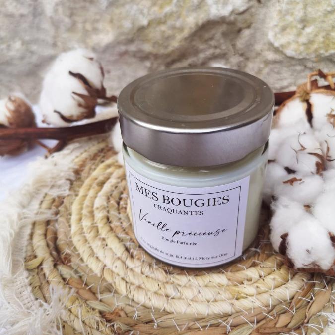 """Mes bougies craquantes - La petite Craquante de 200g """"Vanille précieuse"""" - Bougie - Vanille,  parfum de grasse"""