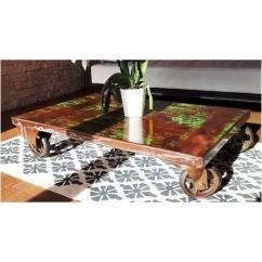 Métal et Bois - Table basse chariot industriel en métal - Table -