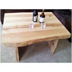 Métal et Bois - Table basse en bois de frêne olivier bords naturels - Table -