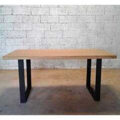Métal et Bois - Table en chêne / Piétements carrés en acier plat - Table -