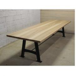 Métal et Bois - Table en Frêne olivier / Piétements acier en A - Table -
