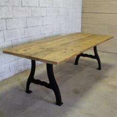 Métal et Bois - Table industrielle en vieux plancher - Table -
