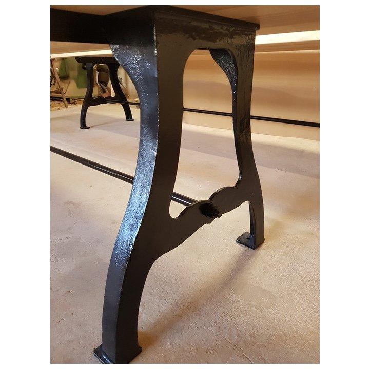 Table Industrielle Frene Olivier Pietement En Fonte