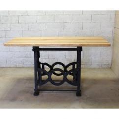 Métal et Bois - Table industrielle haute / Machine à coudre - Table -