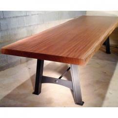 Métal et Bois - Table à manger en bois exotique massif / Piétement acier - Table -