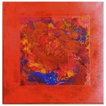 Michèle Blanchet-Durand - Rouge fleuri - Peinture - 60 x 60 cm