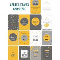 Naïris Bijoux - 12 Cartes étapes - Grossesse - Thème étoile, Gris et jaune moutarde - Cartes étapes