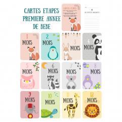 Naïris Bijoux - 12 Cartes étapes - La première année de bébé - Thème animaux - Cartes étapes