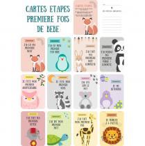 Naïris Bijoux - 12 Cartes étapes - Les étapes clefs de la première année de bébé - Thème animaux - Cartes étapes
