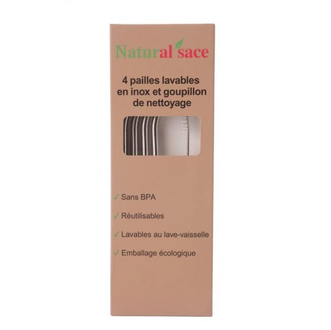 Natural'sace - Pack de 4 pailles en inox + goupillon - paille inox