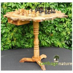 Nature Carthage - Cadeau Noel, Échiquier cadeau, Table d'échecs rustique en bois d'olivier 50 cm avec support 60 cm, cadeau amie nouvel an, cadeau papa - échiquier
