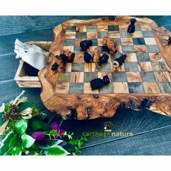 Nature Carthage - Cadeau Noel,  échiquier, Jeu d'échecs rustique en bois d'olivier 50 cm, cadeau maman, décoration salon - Maison