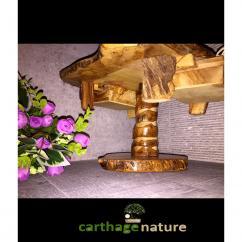 Nature Carthage - Cadeau Noel insolite, Cadeau anniversaire, Table basse jeu d'échecs en bois d'olivier rustique avec support, décoration salon, cadeau maman - échiquier
