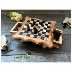 Nature Carthage - Cadeau Noel original, Cadeau anniversaire, Échiquier, Jeu d'échecs carré en bois d'olivier 25 cm, Cadeau pour lui, cadeau pour elle, cadeau maman - échiquier