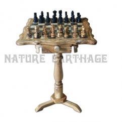 Nature Carthage - Cadeau Noel, Table d'échecs carrée en bois d'olivier 40 cm avec support 60 cm, cadeau fête des mères, cadeau st valentin, cadeau parents - échiquier