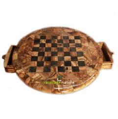 Nature Carthage - Cadeau nouvel an, Cadeau Noel, Échiquier, Table jeu d'échecs ronde en bois d'olivier, cadeau ami, cado Noel, cadeau mariage, cadeau couple. - échiquier