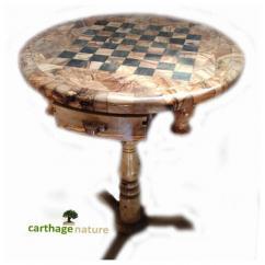 Nature Carthage - Cadeau nouvel an, Cadeau Noel, Table d'échecs ronde en bois d'olivier avec support, cadeau ami, cadeau mariage, cadeau maman, déco maison - échiquier