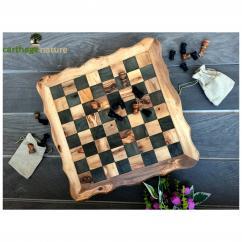 Nature Carthage - Échiquier cadeau, Jeu d'échecs carré en bois d'olivier 40 cm, cadeau collègue, cadeau mariage, décoration salon, cadeau ami, art deco - échiquier