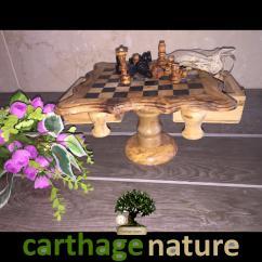 Nature Carthage - Fête des mères, Table basse jeu d'échecs carré en bois d'olivier, Échiquier décoration salon, cadeau anniversaire original, cadeau maman - échiquier