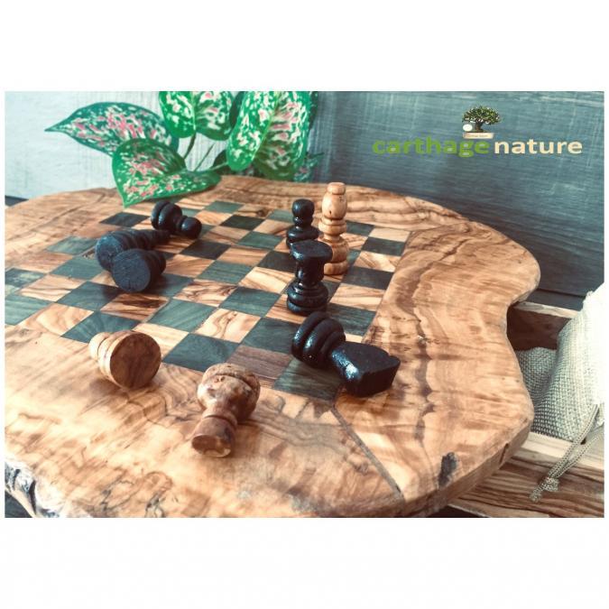 Nature Carthage - Jeu d'échecs rustique 30 cm en bois d'olivier - échiquier