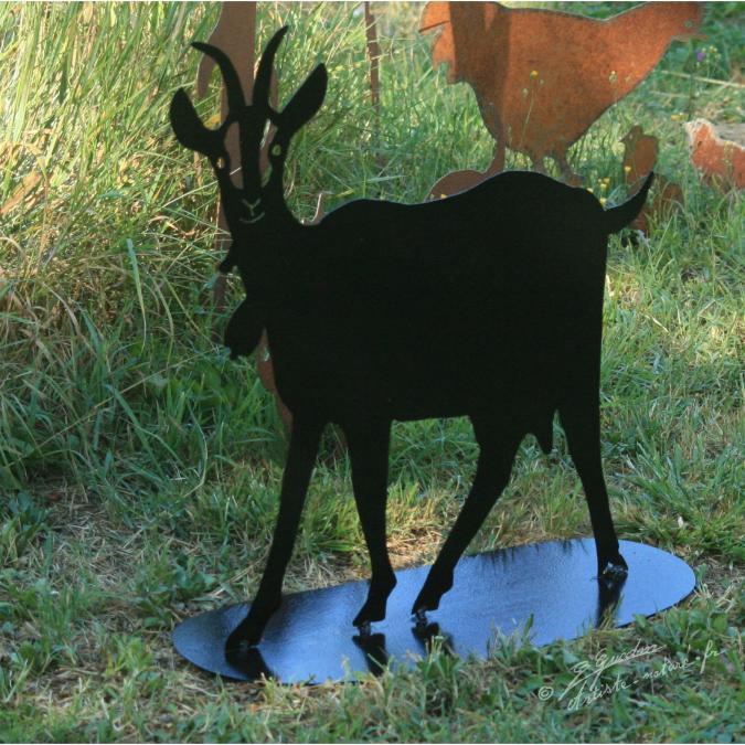 NaturelCreateur - Décor chèvre en métal , silhouette caprin chèvrerie - ___Objet décoratif - métal