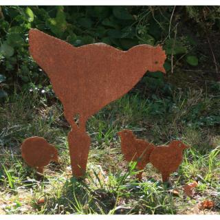 NaturelCreateur - Poule et poussins en métal , acier découpé à la main - Décor en métal