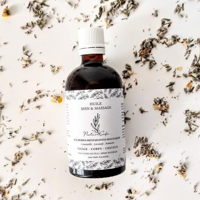 Naturesafe - Huile de soin & massage aux herbes bienfaisantes biologiques(100ml) - Huile corporelle - 0.145