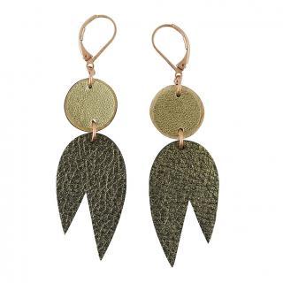 Ni une ni deux - Boucles d'oreilles en cuir et bois MIRO Kaki - Boucles d'oreille - Cuir
