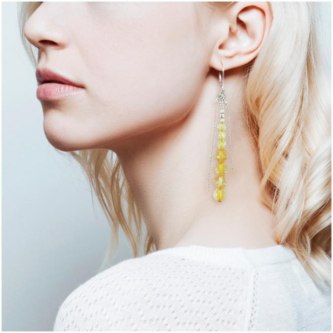 Ni une ni deux - Pendantes pierres fines BOHEME Citron - Boucles d'oreille - Pierres fines