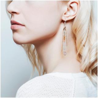 Ni une ni deux - Pendantes pierres fines BOHEME Rose Poudré - Boucles d'oreille - Pierres fines