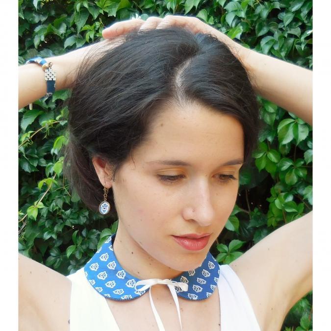 Oh Sud... - Boucles d'Oreilles Cocagne Bleues - Boucles d'oreille - Tissu
