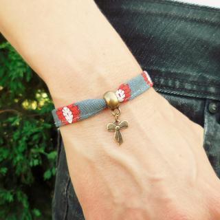 Oh Sud... - Bracelet Midinette Gris/Rouge - Bracelet - Tissu