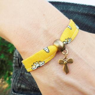 Oh Sud... - Bracelet Midinette Jaune - Bracelet - Tissu