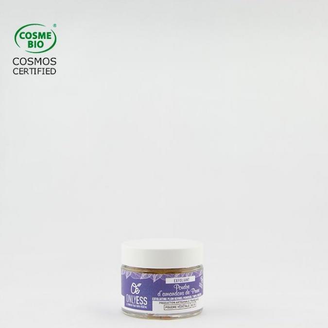 ONLYESS, le soin de peau 100% végétal - Poudre exfoliante d'amandons de Prune - poudre exfoliante