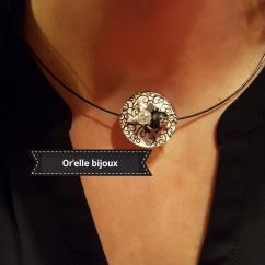 Or'elle Bijoux - Collier câble noir et pendentif noir - Collier - 4668
