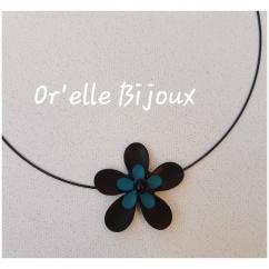 Or'elle Bijoux - Collier fleur noir et bleu canard - Collier - Résine