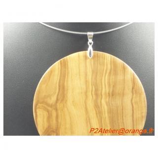 P2Atelier - Pendentif forme disque en olivier d'Aragon - Collier - bois