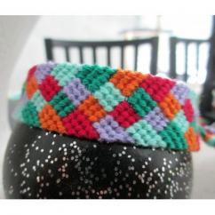 Passion-bracelet - Bracelet brésilien arlequin nuance de vert orange violet rouge (rosé) - Bracelet - Coton