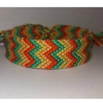 Passion-bracelet - Bracelet brésilien chevron W nuance de vert et orange 1 - Bracelet - Coton