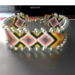 Passion-bracelet - Bracelet brésilien diamant 6 couleurs avec fermoir encadré de perle. (18cm) - Bracelet -